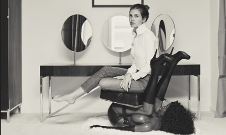 Dasha Zhukova in Bjarne Melgaard's chair